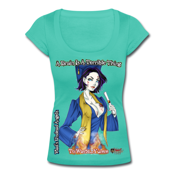 Zombie Tiffany Woman's Scoop Neck Tee by Enforcer Designs